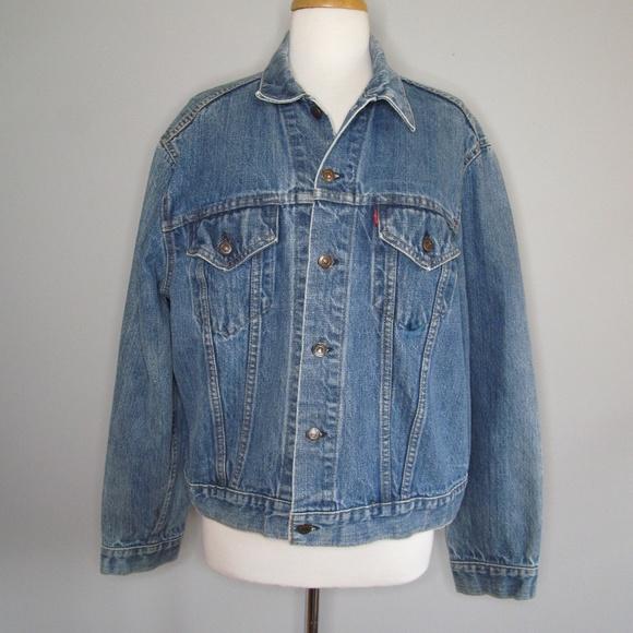 Vtg LEVI'S Trucker Denim Jacket 80s 90s Blue Acid Wash USA Made Men's L?